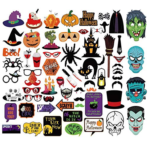 Halloween Photo Booth Props - Halloween Party Supplies - Zombie Witch Hat Skull Pumpkin Bat Spider Party Decorations - 66 pcs Easy DIY Kit -