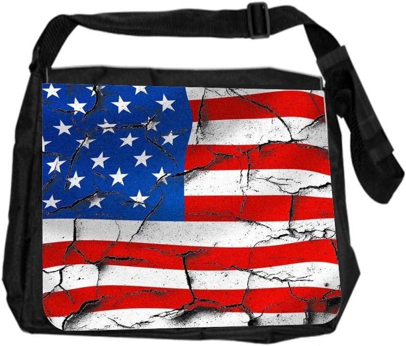 USA Cracked Flag Art Cross Body Shoulder Messenger Laptop Bag