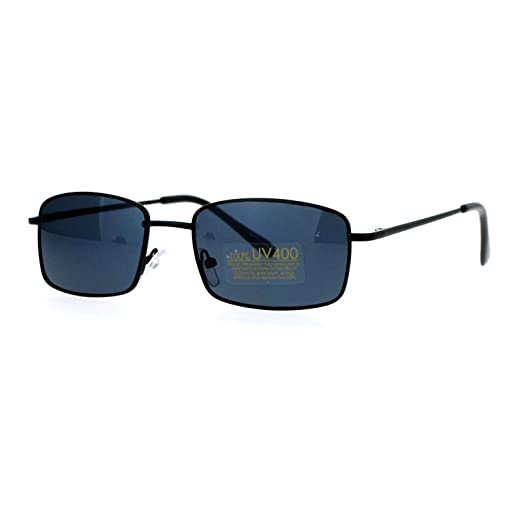 03a6abf981c Black Small Frame Sunglasses Thin Metal Rectangular Fashion Spring Hinge