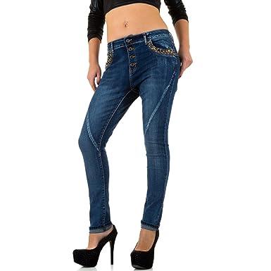 df94aeed0364 Schuhcity24 Damen Jeans Hose Jeanshose Damenjeans Strass Boyfriend Skinny  Röhre Röhrenjeans Bluejeans Blau  Amazon.de  Bekleidung