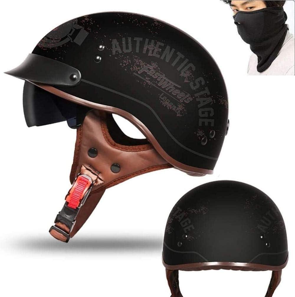 /_B RXX666 Motorrad Halbhelme Brain-Cap /· Halbschale Motorrad-Helm Jet-Helm Roller-Helm Scooter-Helm Mofa-Helm Retro HelmeMotorrad Half Helm mit Built-in Visier f/ür Cruiser Chopper Biker-XL= 61~62CM