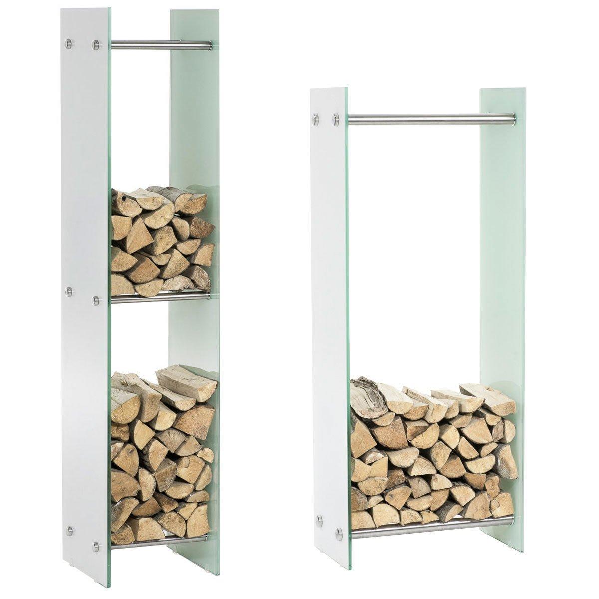 CLP Kaminholzregal Kaminholzständer Dacio Weißglas I Stabile Konstruktion I Holzlager I modernes Glasregal mit Bodenschonern 35x60x150 cm
