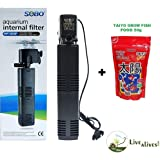 Live with Alive SOBO Internal Aquarium Filter Pump WP-3000F (Free!!! Taiyo Grow Fish Food 50g)
