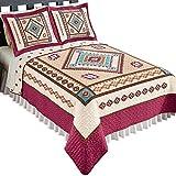 Collections Etc Southwest Bedding Reversible Diamond Aztec Quilt, Khaki, Full/Queen