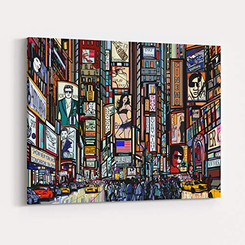 Rosenberry Rooms Canvas Wall Art Prints - Illustration of A Street in New York City Times Square Vector Illustration (18 x 12 inches) -