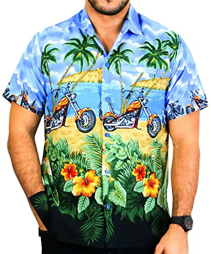 LA LEELA Mens Regular Fit Summer Hawaiian Shirt Beachwear Aloha Shirt Printed A
