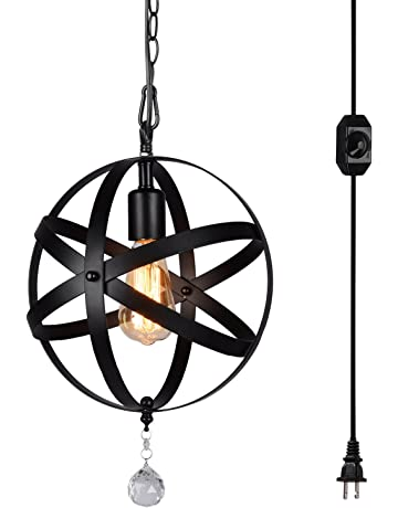 e1318be97c HMVPL Plug-in Industrial Globe Pendant Lights with 16.4ft Hanging Cord and  On