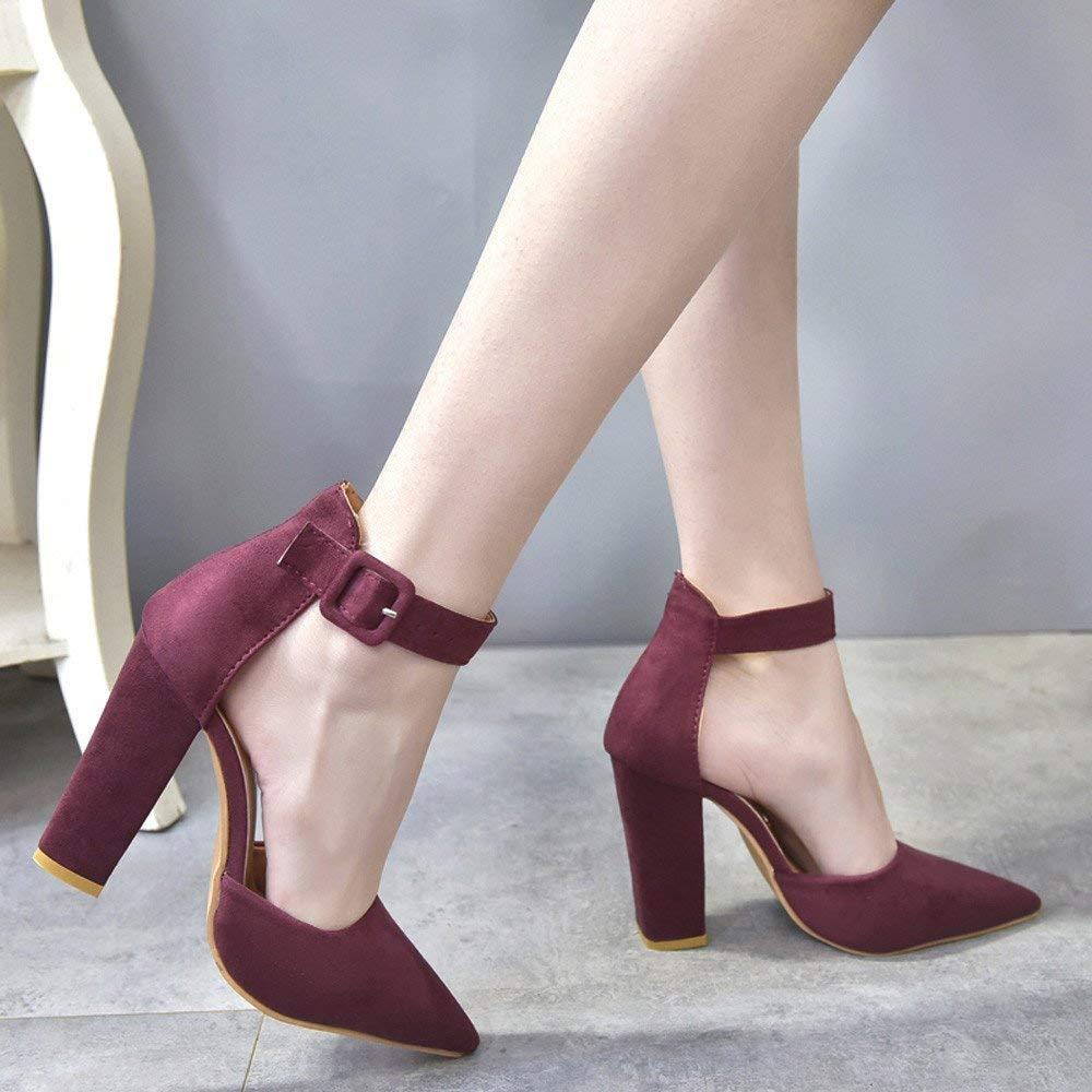 ZHRUI Stiefel Damen Einzelne Schuhe,ErbsenschuheSchnalle Damen Ankle High Heels Block Block Block Party Singel Schuhe Weiche Schuhe Slipper Sandalen (Farbe   Rot, Größe   42 EU) 74c662