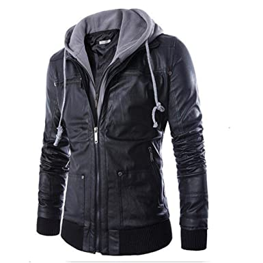 Yuxikong Mens Leather Autumn&Winter Jacket Biker Motorcycle ...