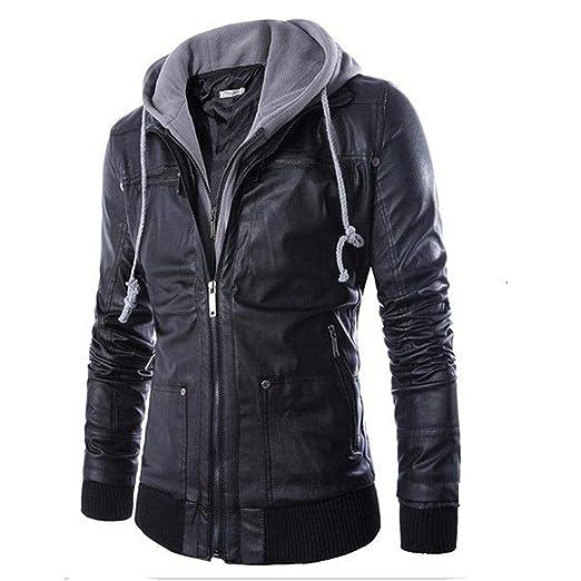 Yuxikong Mens Leather Autumn&Winter Jacket Biker Motorcycle Zipper Outwear Warm Coat (Black, ...