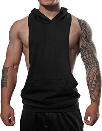 Sleeveless Gym Hoodie Bodybuilding Muscle Training Workout Top