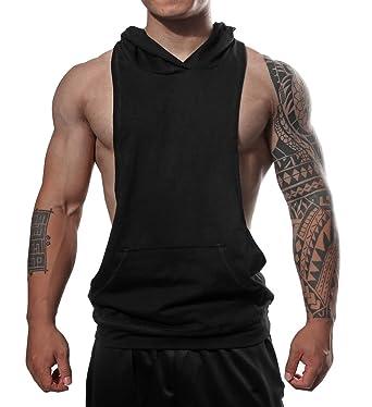 839861c626f91b Amazon.com  Manstore Mens Workout Hooded Tank Tops Sleeveless Muscle Gym  Hoodies with Kanga Pocket  Clothing