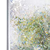 Homein Window Film Decorative Glass Films 3D Privacy Sticker Static Cling No Glue & Self Adhesive Door Windows Stickers for Decoration, Heat Control & Anti UV, Prismatic Pattern, 17.5in*78.7in