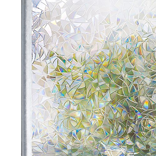 Homein Window Films 3D Static Privacy Decoration Rainbow for Glass Non-Adhesive Heat Control Anti UV 35.4In. by 78.7In. (90 x 200Cm) by Homein