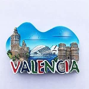 Weekinglo Souvenir Imán de Nevera Valencia España 3D Resina Artesanía Hecha A Mano Turista Viaje Ciudad Recuerdo Colección Carta Refrigerador Etiqueta: Amazon.es: Hogar
