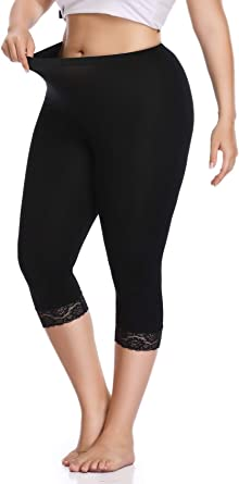 New Womens Ladies Full 3//4 Length Lace Trim Summer Leggings Trousers Size S M L