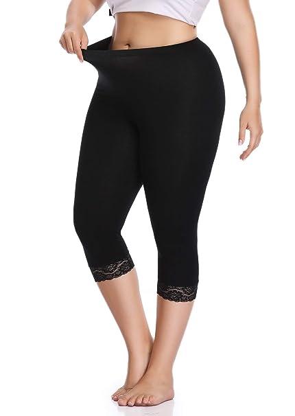 69ce3b8b5e6dc Raddzo Women's Plus Size Cotton Capri Cropped Leggings Lace Trim Soft Tights  Pants, Black,
