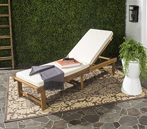 Safavieh Outdoor Collection Inglewood Lounge Chair, Teak Brown and Beige