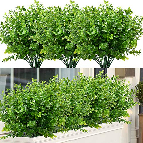 ArtBloom 8 Bundles Outdoor Artificial Boxwood UV Resistant Fake Stems Plants, Faux Plastic Greenery for Indoor Outside…