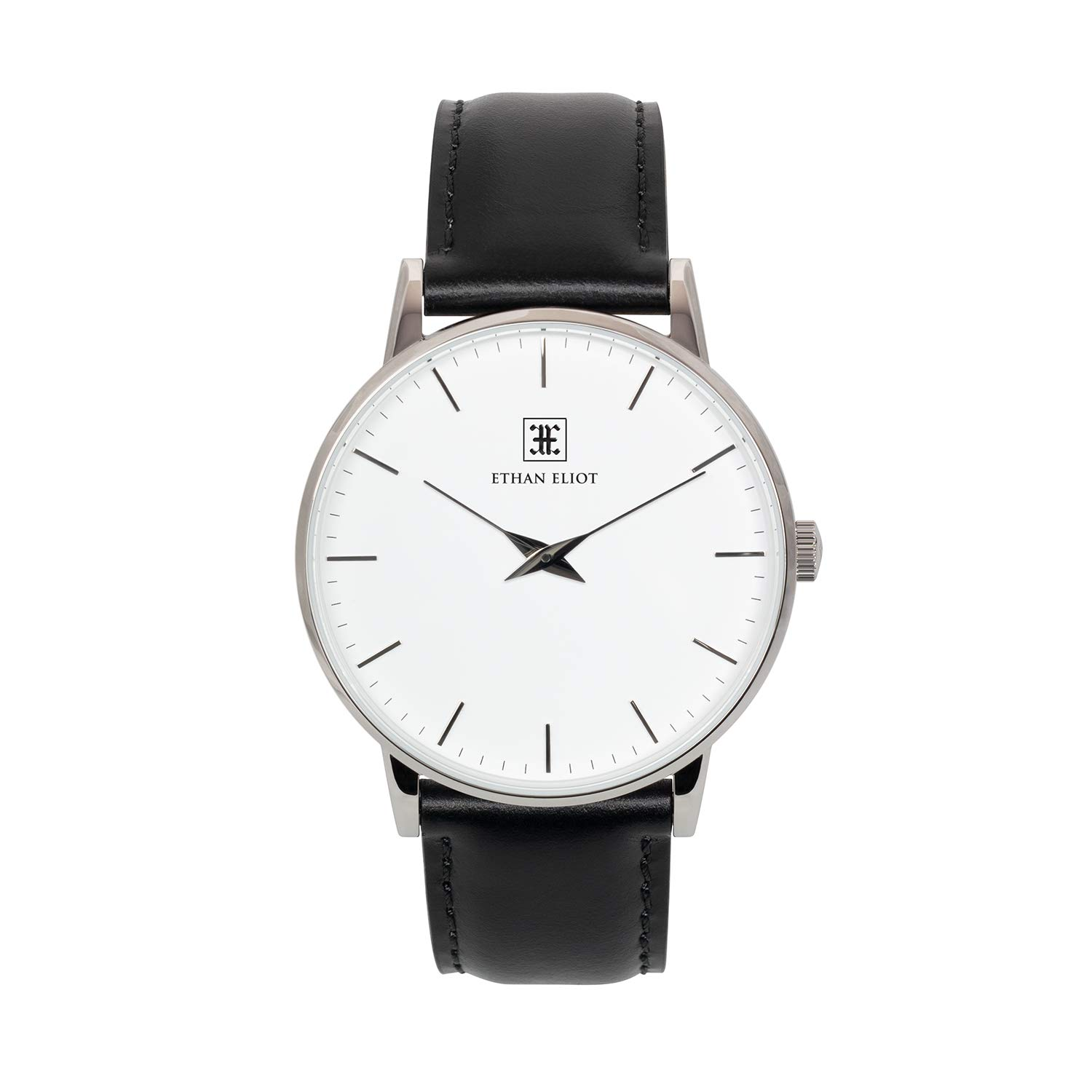 Ethan Eliot Classic Men's Watch, Oxford 40mm Silver Watch for Men, Stainless Steel Silver Case, White Face & Leather Band, 5ATM Watch