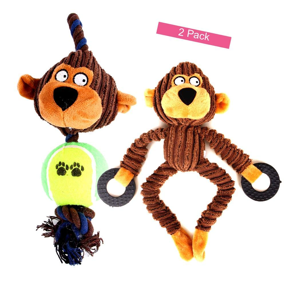 Ollypet Interactive Plush Monkey Dog Toy for Small Medium Puppies Soft Tug and Play Rope Ball Toy with Squeeker 14 inches 2 Pack