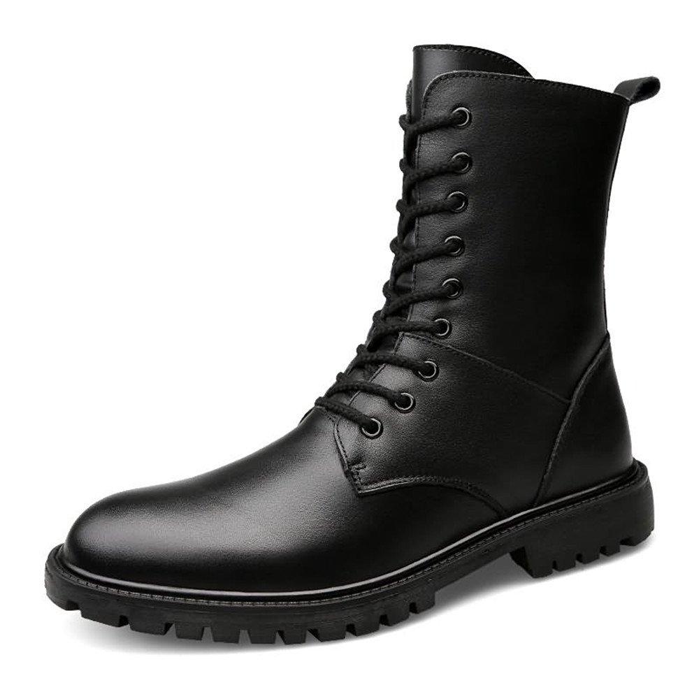 Lederschuhe Herren Stiefeletten Block Heel Lace up Peep Toe Einfarbig Oxfords Freizeitschuhe Black Wool