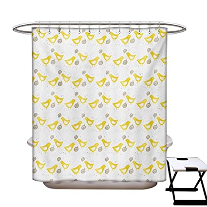 Grey And Yellow Shower Curtains Fabric Vintage Modern Design Birds With Dots Hearts Print Bathroom