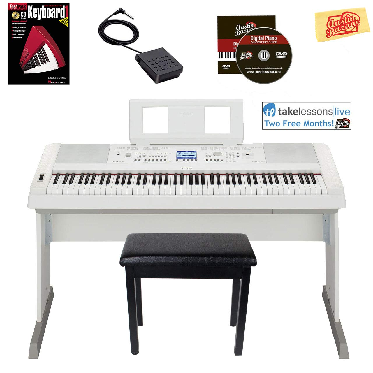 Yamaha DGX-660 Digital Piano - White Bundle with Furniture Bench, Instructional Book, Austin Bazaar Instructional DVD, and Polishing Cloth by YAMAHA