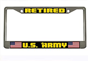 U.S. Army Retired Steel Auto License Plate Frame Car Tag Holder