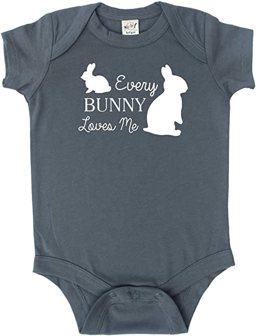 Baby Cotton Romper Bunny Rabbit Charcoal Print