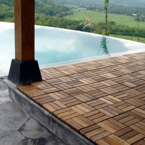 Le Click Teak Interlocking Flooring Tiles Windmill Pattern - Teak patio flooring 12x12