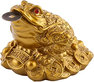 Hilitand Money Frog Toad Decoration,Chinese Feng Shui Wealth Lucky Money Frog Statue Home Office Decoration Good Lucky Gift(S-6X6X5cm)