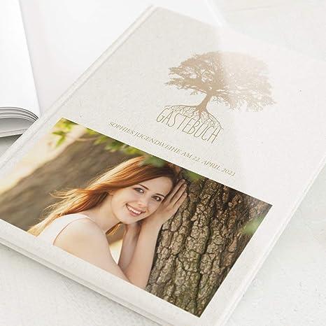 Hochformat Baum Hardcover-Buch hochwertige Blanko-Innenseiten personalisiert mit Ihrem Wunschbild sendmoments Foto G/ästebuch Jugendweihe 32 Seiten oder mehr