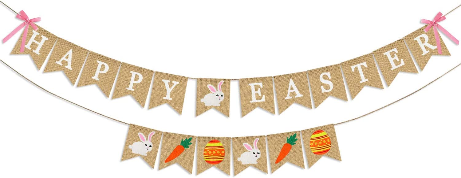 Happy Easter Banner Burlap - Rustic Easter Decorations - Easter Bunny Banner for Mantle Fireplace - Spring Easter Party Decorations Supplies - Easter Home Office School Outdoor & Indoor Hanging Decor