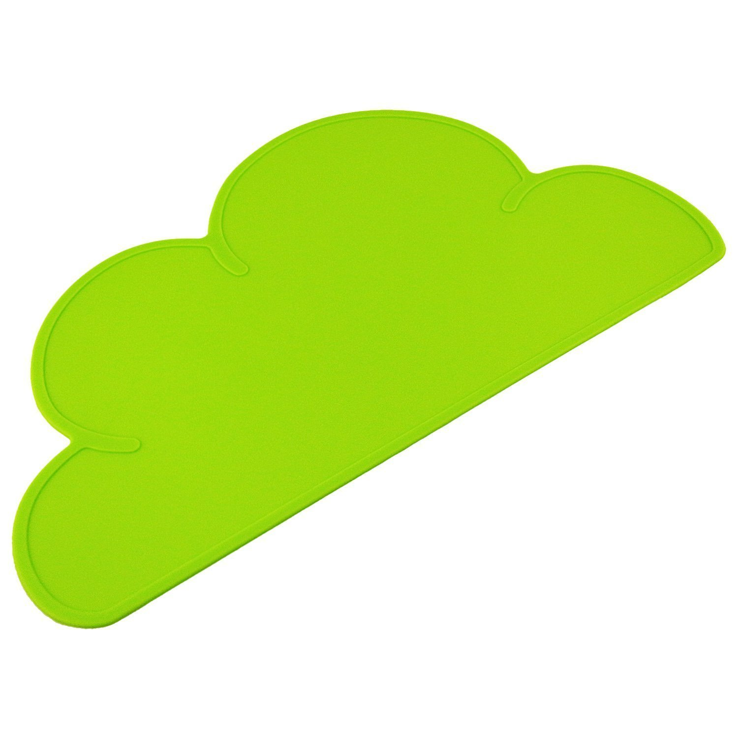 Da.Wa Baby Silicone Cloud Shaped Placemat Non-slipHeat Resistant Infant Plate Table Mat for Babies Toddlers And Kids (Green)
