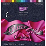 Darice 12-Inch by 12-Inch Core Dinations Glitter Silk Cardstock Assortment, 20 Sheet Per Package