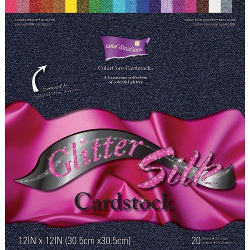 Darice 12-Inch by 12-Inch Core Dinations Glitter Silk Cardstock Assortment, 20 Sheet Per - Glitter Stock