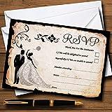 Black White Vintage Rustic Postcard Personalized RSVP Cards