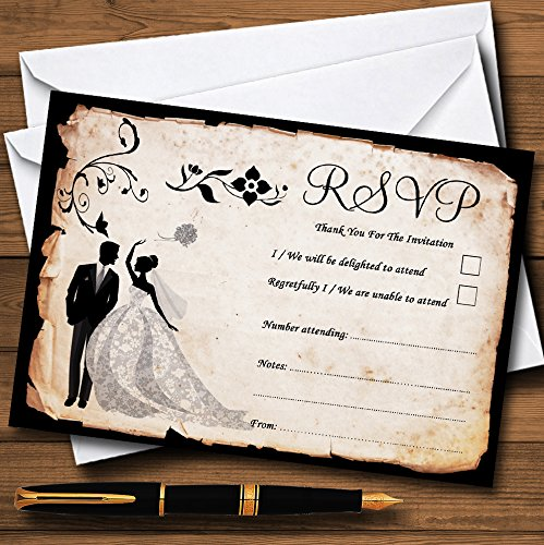 Black White Vintage Rustic Postcard Personalized RSVP Cards