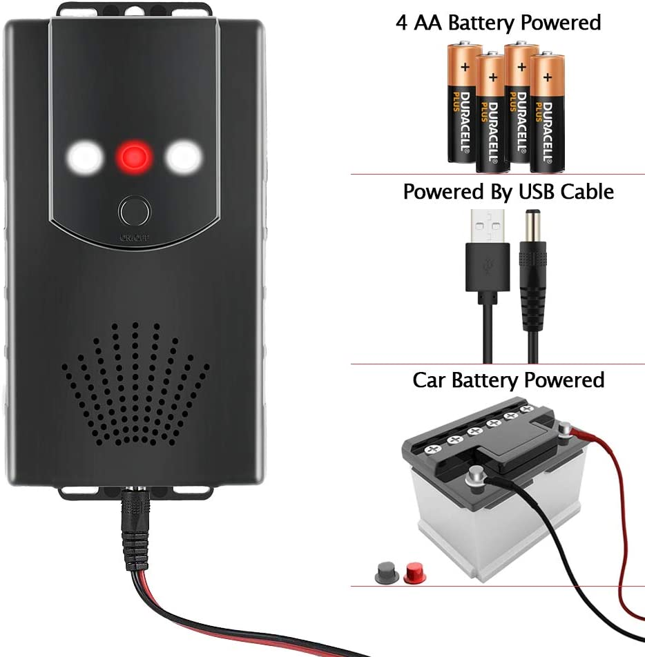 entrep/ôt Batterie 12 V Maison carport Fengzio R/épulsif /à ultrasons pour Voiture avec Fonction Flash LED et Protection Contre Les martres pour Voiture Jardin