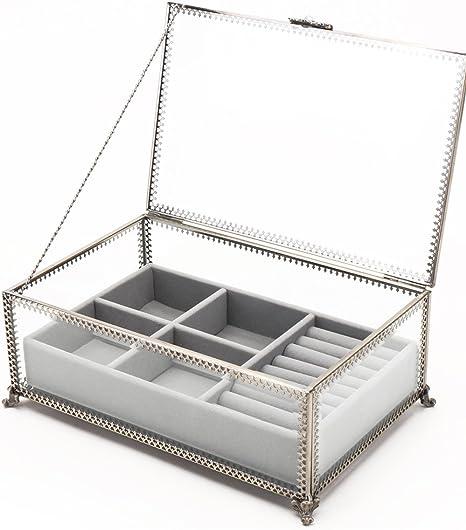 Claridad cristal y latón metal marco de 2 capas – Caja para pulsera de joyería cajones pantalla relojes anillo collar caso espacio de almacenamiento: Amazon.es: Hogar