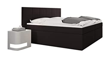 MSA Sam® Cama boxspring Loreno 180x200, Tela Moca, Base con resortes Bonnell,