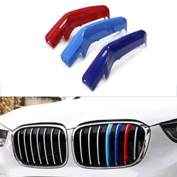 compatible with B M W 1 Series F20 F21 2012-2015 8 Bars Bonnet Hood Radiator Grill Stripes Slat Covers Inserts Trim Clips M Power Sport Performance Tech Paket Colour Grilles Badge