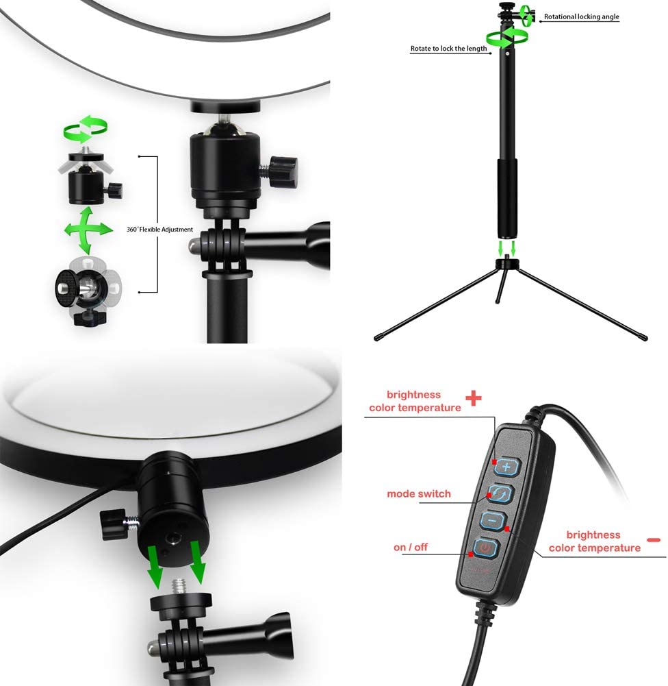 Halo Lighting for Photo Photography Make Up Video,Pink,26CM Xgxyklo LED Ring Light with Tripod Stand and Phone Holder Circle Lights
