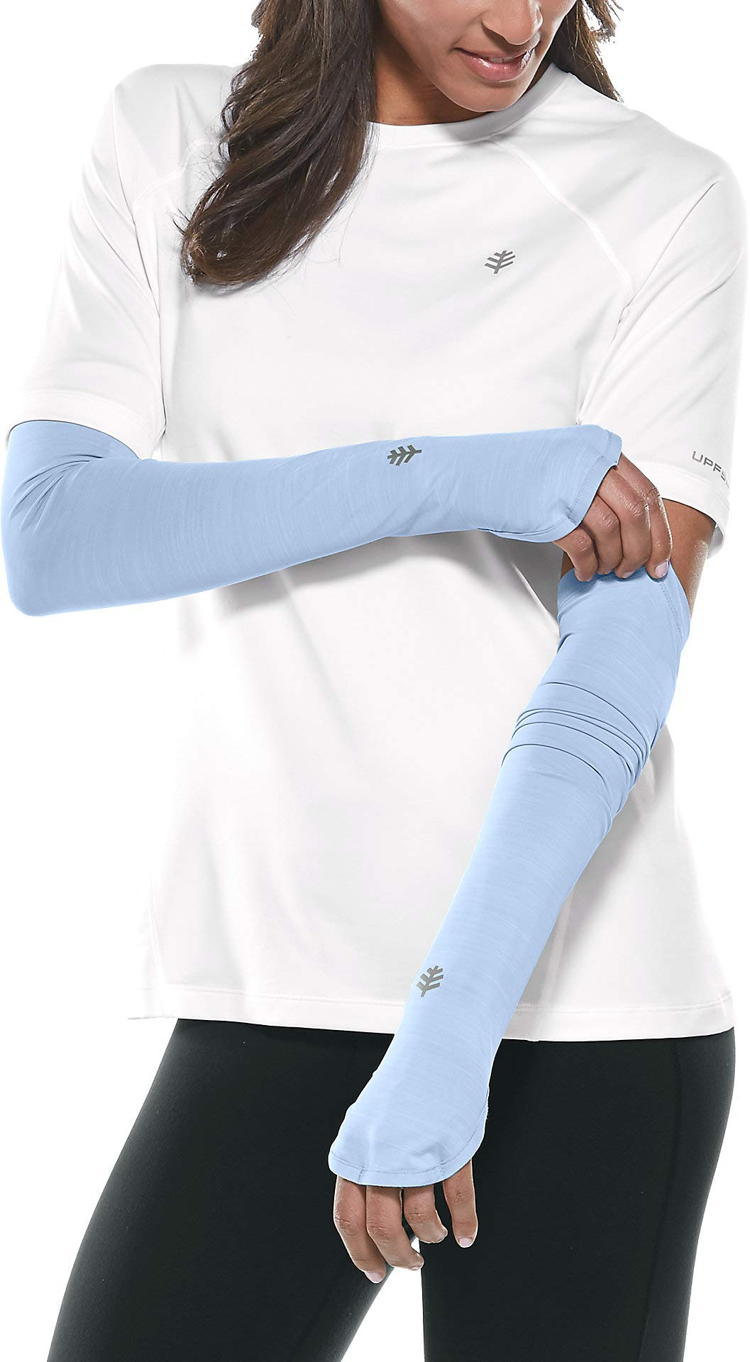 Coolibar UPF 50+ Women's Performance Sleeves - Sun Protective (X-Small- Vintage Blue)