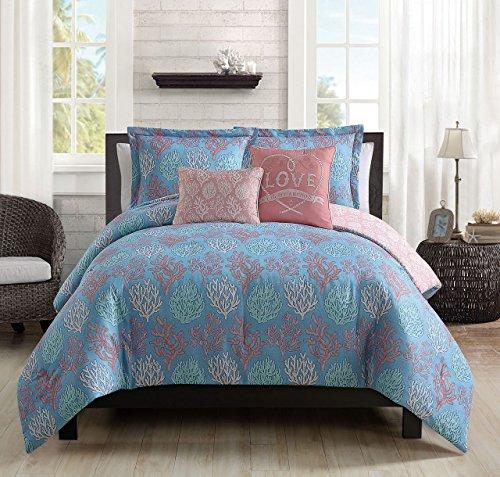 5 Piece Venice Beach Blue/Coral Comforter Set King 5 Piece King Comforter Ensemble