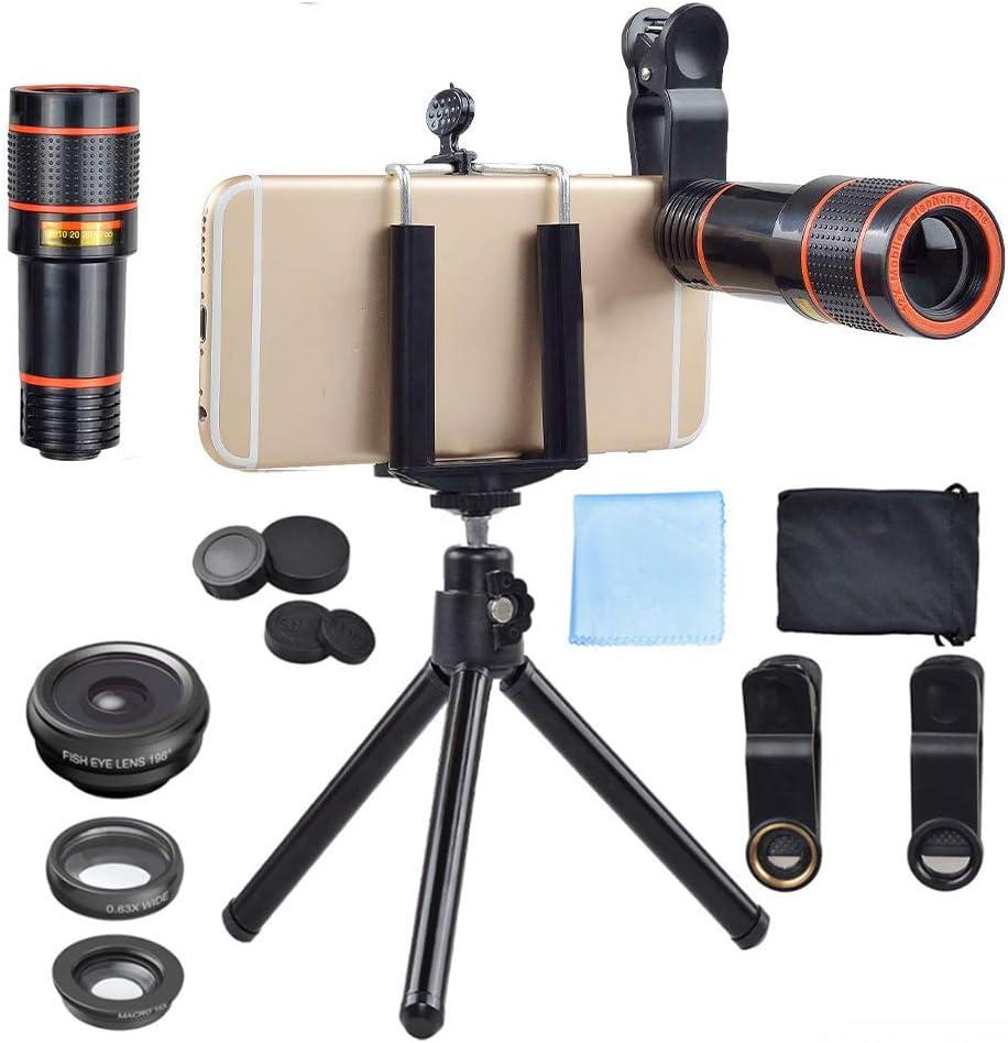 4 in 1 Cell Phone Camera Lens Kit,12X Zoom Lens, 198 Fisheye,0.63X Wide Angle,15X Macro, Mini Tripod & Phone Holder Professional HD Camera Lens