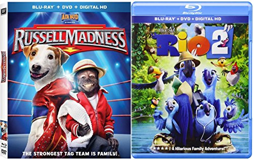 Dreamworks Rio 2 + Russell Madness Blu Ray + DVD Combo Cartoons awesome Animated Bundle Family Fun Set