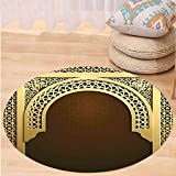 VROSELV Custom carpetMoroccan Decor Middle Eastern Ramadan Greeting Scroll Arch Figure Celebration Holy Eid Theme for Bedroom Living Room Dorm Golden Brown Round 79 inches