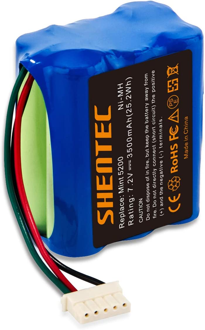 Shentec 7.2V 3500mAh Replacement Battery Compatible with iRobot Mint 5200 Braava 380 380T Mint 5200 5200B 5200C Floor Mopping Robots Ni-MH